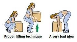correct seating manual handling workplace instructions