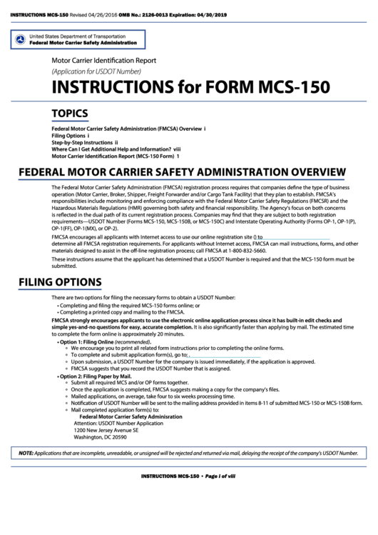 mcs 150 instructions mileage
