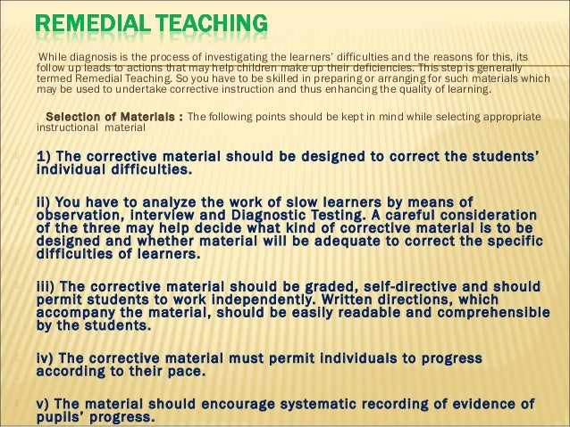 what is remedial instruction in english