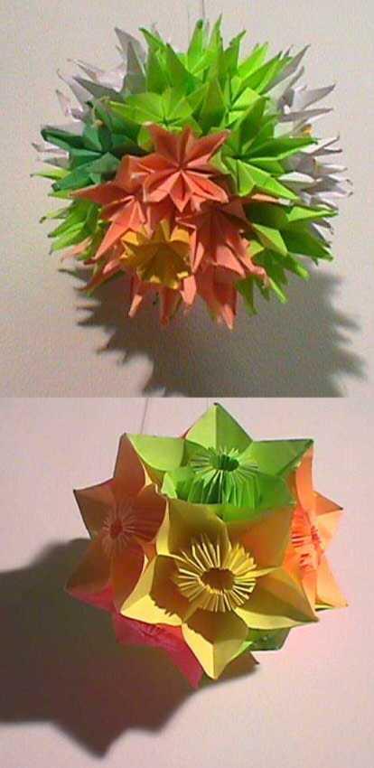 paper folding instructions for kusudama doll