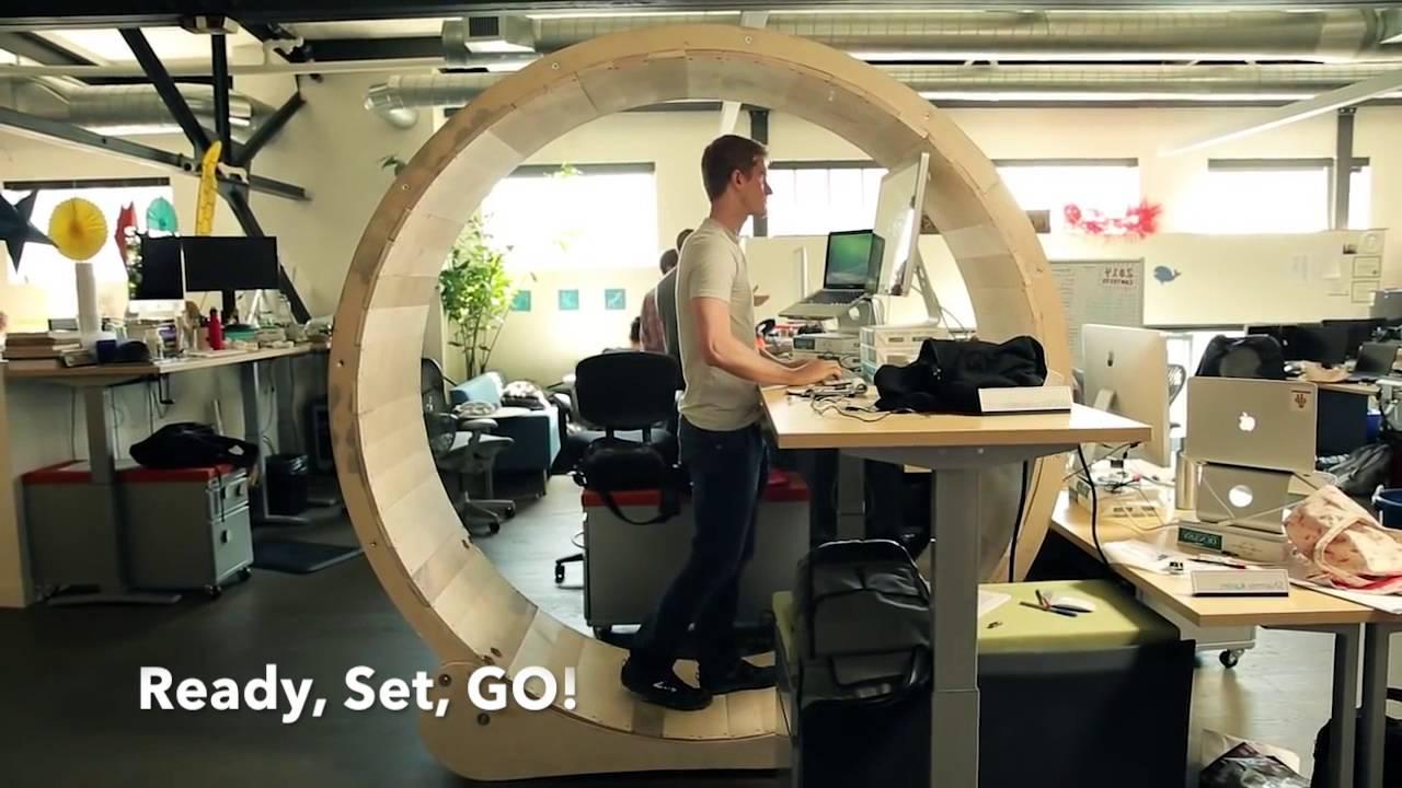 hamster wheel standing desk instructables