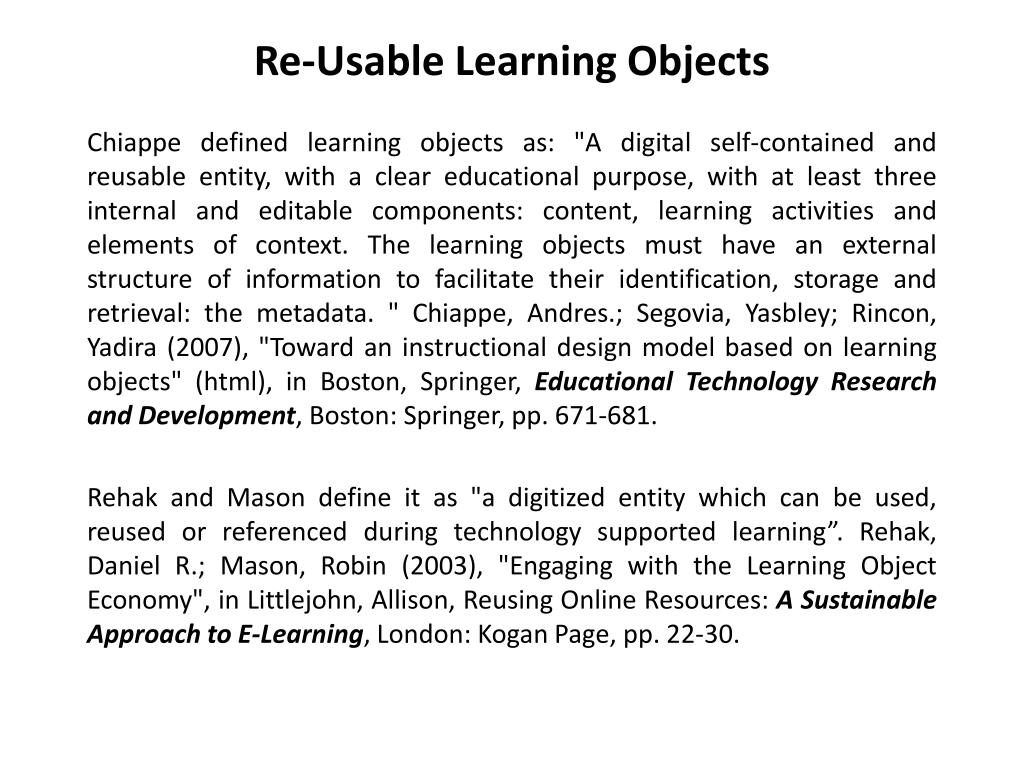 identification of ontology based object using instructional design